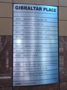 Directory Signs / Name Plates